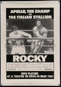 7k198 ROCKY linen 1sh 1976 Italian Stallion vs The Champ, playing at a drive-in near you, ultra rare