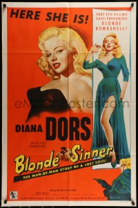 7m017 BLONDE SINNER 1sh 1956 here is sexy eye-filling gasp-provoking blonde bombshell Diana Dors!