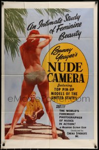 7m105 BUNNY YEAGER'S NUDE CAMERA 1sh 1964 Barry Mahon, image of Yeager photographing topless girl!