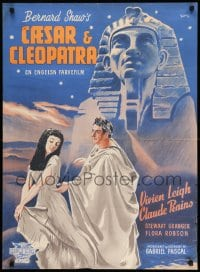 7m248 CAESAR & CLEOPATRA Danish 1947 different K. Wenzel art of Vivien Leigh & Rains by Sphinx!