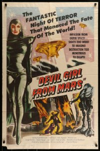 7m018 DEVIL GIRL FROM MARS 1sh 1955 Earth menaced by fantastic powers, sexy female alien!