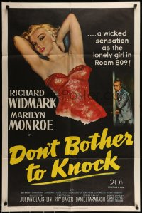 7m019 DON'T BOTHER TO KNOCK 1sh 1952 classic art of sexiest Marilyn Monroe on black background!