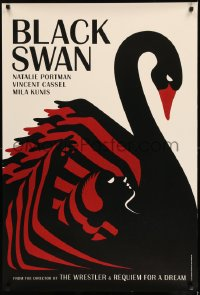 7m002 BLACK SWAN teaser DS English 1sh 2010 Darren Aronofsky, merged swan & dancer deco La Boca art!