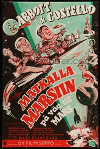 7m250 ABBOTT & COSTELLO GO TO MARS Finnish 1953 art of wacky astronauts Bud & Lou in outer space!