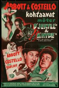 7m251 ABBOTT & COSTELLO MEET DR. JEKYLL & MR. HYDE Finnish 1953 Bud & Lou, scary Boris Karloff!