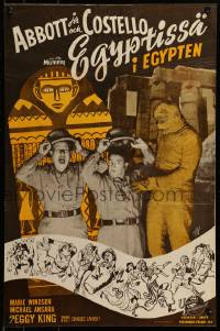 7m252 ABBOTT & COSTELLO MEET THE MUMMY Finnish 1955 different image of Bud & Lou with the monster!