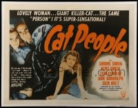 7m132 CAT PEOPLE 1/2sh R1952 Val Lewton, full-length sexy Simone Simon by black panther!