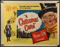 7m202 CHRISTMAS CAROL style B 1/2sh 1951 Charles Dickens holiday classic, Alastair Sim as Scrooge!