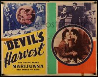 7m226 DEVIL'S HARVEST 22x28 special poster 1942 the truth about marijuana, the smoke of Hell, rare
