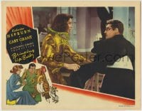 7m039 BRINGING UP BABY LC 1938 Howard Hawks, Katharine Hepburn ripping Cary Grant's jacket, rare!