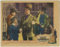 7m042 DAVID COPPERFIELD LC 1935 W.C. Fields as Micawber tells Bartholomew something will turn up!