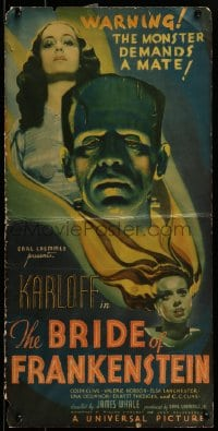 7m125 BRIDE OF FRANKENSTEIN pressbook cover 1935 different art of Boris Karloff & Lanchester, rare