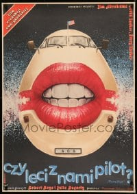 7m306 AIRPLANE Polish 26x38 1984 great completely Witold Dybowski art of aircraft with huge mouth!