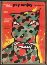 7m308 DOGS OF WAR Polish 27x38 1984 different bloody camoflauge canine art by Waldemar Swierzy!