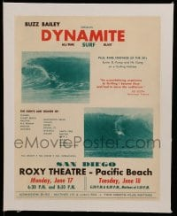 7m168 DYNAMITE linen 9x11 special poster 1962 Buzz Bailey all-time surf blast + rare 1930s footage!
