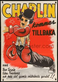 7m257 CHAMPION Swedish R1944 completely different boxing art of Charlie Chaplin by Bjorne!