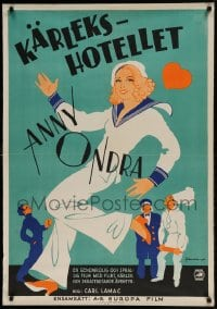 7m258 DAS VERLIEBTE HOTEL Swedish 1934 Eric Rohman art of pretty blonde Anny Ondra in sailor suit!