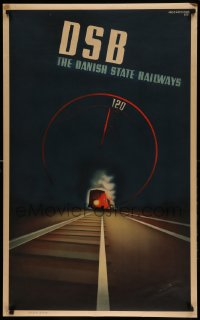 7m214 DSB 24x39 Danish travel poster 1937 Aage Rasmussen art of train on tracks, English language!