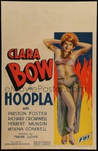 7m180 HOOPLA WC 1933 sexy full-length hula dancer Clara Bow over fiery background, ultra rare!