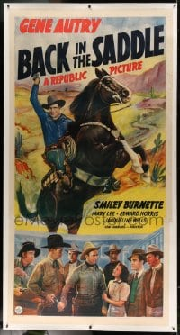 7p051 BACK IN THE SADDLE linen 3sh 1941 singing cowboy Gene Autry on his rearing horse Champion!