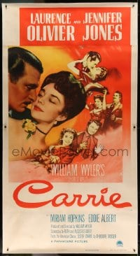 7p052 CARRIE linen 3sh 1952 romantic art of Laurence Olivier & Jennifer Jones, William Wyler