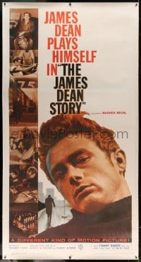 7p054 JAMES DEAN STORY linen 3sh 1957 different huge close up + six photos from his movies, rare!