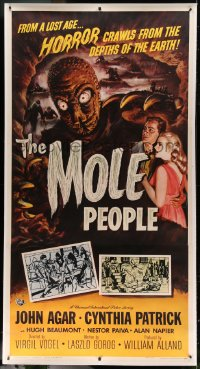 7p055 MOLE PEOPLE linen 3sh 1956 from a lost age, horror crawls from the depths of the Earth!