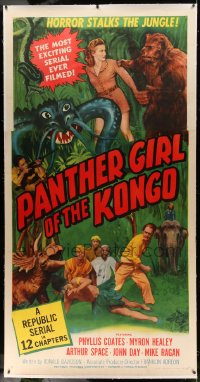 7p056 PANTHER GIRL OF THE KONGO linen 3sh 1955 Phyllis Coates, wild art of man-made monsters!