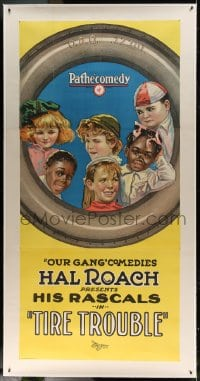 7p058 TIRE TROUBLE linen 3sh 1924 great stone litho of six Our Gang kids, Farina & Sunshine Sammy!