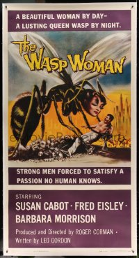7p059 WASP WOMAN linen 3sh 1959 Roger Corman, great art of lusting human-headed insect queen, rare!