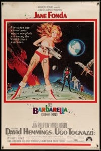 7p007 BARBARELLA 40x60 1968 sexiest sci-fi art of Jane Fonda by Robert McGinnis, Roger Vadim!