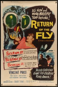 7p009 RETURN OF THE FLY 40x60 1959 Vincent Price, insect monster art, more horrific than before!