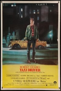 7p011 TAXI DRIVER 40x60 1976 classic art of Robert De Niro by cab, directed by Martin Scorsese!