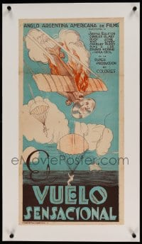 7p229 BIG HOP linen Argentinean 14x27 1928 different art of Buck Jones parachuting from plane, rare!