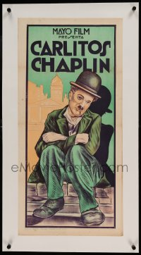 7p230 CHARLIE CHAPLIN linen Argentinean 14x29 1920s art of the legendary comedian as The Tramp, rare!