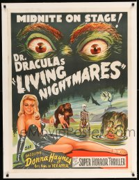 7p135 DR. DRACULA'S LIVING NIGHTMARES linen Aust special poster 1950s art of sexy woman & monsters!