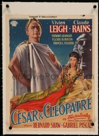 7p209 CAESAR & CLEOPATRA linen Belgian 1948 sexy Egyptian Vivien Leigh, Claude Rains, different art