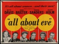 7p038 ALL ABOUT EVE British quad 1950 Bette Davis, Anne Baxter, Sanders, Merrill, Holm & Marlowe!