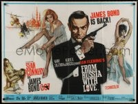 7p041 FROM RUSSIA WITH LOVE British quad 1964 Fratini art of Sean Connery & sexy Bond girls, rare!