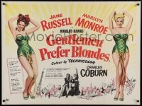 7p042 GENTLEMEN PREFER BLONDES British quad 1953 different art of sexy Marilyn Monroe & Jane Russell!