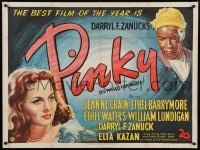 7p046 PINKY British quad 1949 Elia Kazan, different art of sexy Jeanne Crain & Ethel Waters!