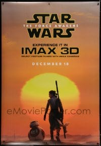 7p004 FORCE AWAKENS IMAX DS bus stop 2015 Star Wars: Episode VII, Daisy Ridley as Rey with BB-8!