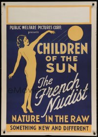 7p019 CHILDREN OF THE SUN 1sh 1934 art of French Nudist, nature in the raw, new & different, rare!