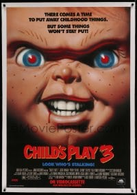 7p134 CHILD'S PLAY 3 linen 27x40 video poster 1991 creepy super close image of killer doll Chucky!