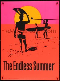 7p025 ENDLESS SUMMER 29x40 commercial poster 1967 Bruce Brown surfing classic, cool day-glo art!