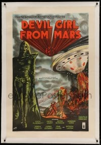 7p246 DEVIL GIRL FROM MARS linen English 1sh 1955 Robb art of Earth menaced by female alien, rare!