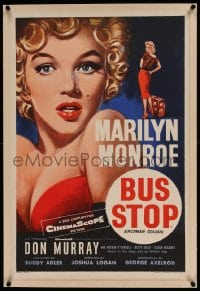 7p252 BUS STOP linen English double crown 1956 best Tom Chantrell art of sexy Marilyn Monroe, rare!