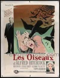 7p061 BIRDS linen French 1p 1963 different Grinsson art with Tandy, Tippi Hedren & Alfred Hitchcock
