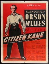 7p062 CITIZEN KANE linen French 1p R1950s different art of Orson Welles as Charles Foster Kane!