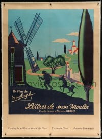 7p066 LETTERS FROM MY WINDMILL linen French 1p R1950s Marcel Pagnol, great art of man & donkey!